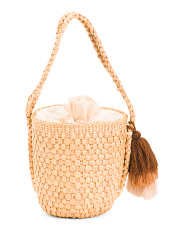 Woven Bucket Bag Crossbody With Braided Strap