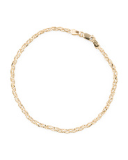 Made In Italy 14k Gold Diamond Cut Braided Bracelet