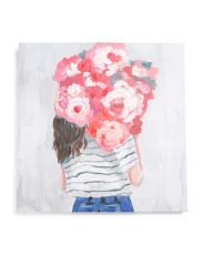 24x24 Flower Delivery Girl Canvas Wall Art