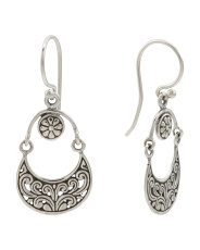 Made In Bali Sterling Silver Swirl Flower Earrings