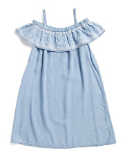 Big Girls Cold Shoulder Embroidered Star Dress
