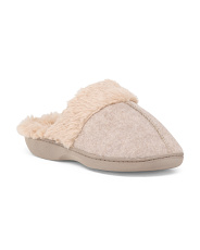 Knit Slippers With Large Faux Fur Accent And Lining