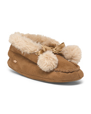 Slipper With Faux Fur Collar And Faux Fur Poms