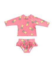 Infant And Toddler Girls 2pc Pineapple Rash Swim Set