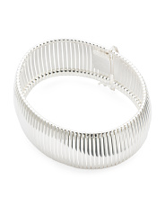 Made In Italy Silver Plated Bronze Ribbed Bracelet