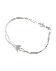Made In Italy Sterling Silver Heart Snake Chain Bracelet