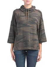 Made In Usa Pullover Camo Cowl Neck Top