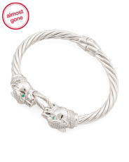 Made In Italy Sterling Silver Cz Panther Twist Bracelet