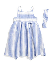 Little And Big Girls Striped Gauze Hanky Hem Dress