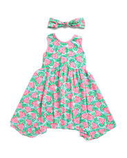 Little & Big Girls Watermelon Knit Hanky Hem Dress