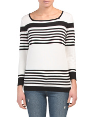 Three-quarter Sleeve Striped Pullover Sweater