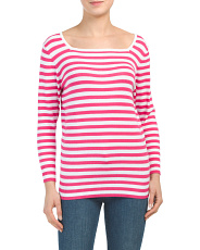 Square Neck Stripe Pullover Sweater