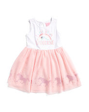 Toddler Girls Unicorn Glitter Mesh Tutu Dress