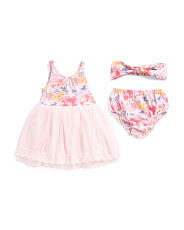 Infant Girls Floral Mesh Dress With Headband