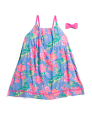 Little And Big Girls Tropical Floral Bow Back Dress