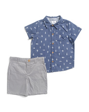 Toddler Boys 2pc Bottle Print Woven Twill Short Set