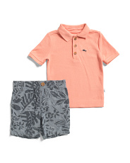 Infant Boys 2pc Polo Leaf Print Chambray Short Set