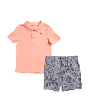 Toddler Boys 2pc Polo Chambray Short Set