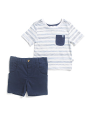 Infant Boys 2pc Striped Tee Short Set