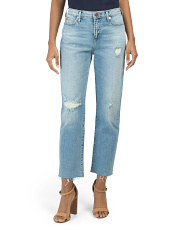 High Rise Star Cropped Straight Jeans