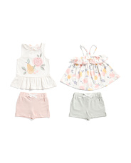 Infant Girls 4pk Mix And Match Fruit Short Set