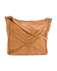 Leather Woven Detail Satchel Hobo