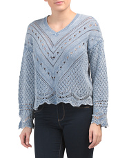 V-neck Sweater With Scalloped Edges