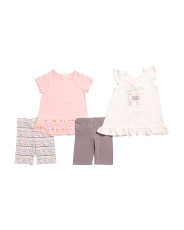 Toddler Girls 4pk Mix And Match Llama Pom Pom Short Set