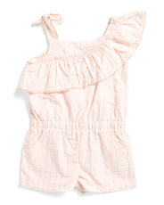 Infant Girls Lurex Windowpane Ruffle Romper