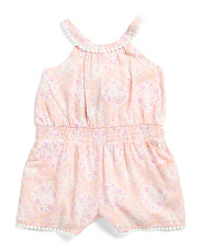 Toddler Girls Printed Voile Cross Back Romper
