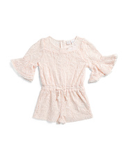 Toddler Girls Bell Sleeve Lace Romper