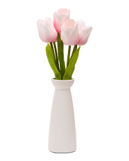 17.5in Faux Pink Tulips
