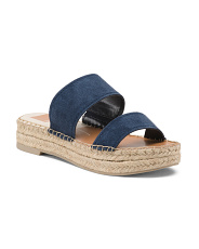 Two Band Suede Flatform Espadrille Sandals