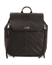 Mia Leather Backpack With Side Zip Pockets