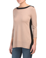 Boat Neck Sweater Tunic With Side Slits