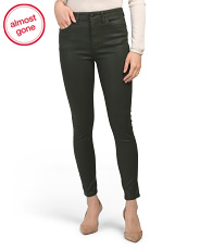 Coated High Rise Ankle Jeans