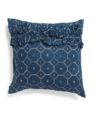 Made In India 20x20 Boho Global Denim Pillow