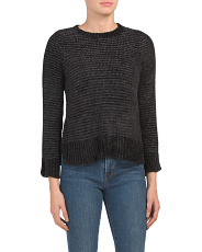Ribbed Pullover Sweater With Slit Cuffs