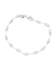 Made In Italy Sterling Silver Oval Bead Bracelet