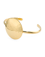 Made In Mexico 18k Gold Plated Brass Disc Cuff Bracelet