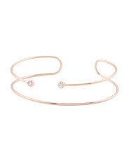 18k Rose Gold Plated Brass Cz Double Wire Cuff Bracelet