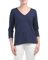 Three-quarter Sleeve Fine Gauge Sweater
