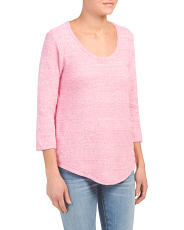 Textured Three-quarter Sleeve Sweater