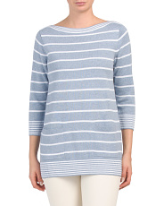 Striped Sweater Tunic With Pockets