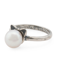 Made In Italy Sterling Silver Pearl Cat Ring