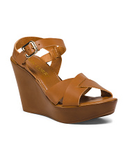 Made In Italy Wood Bottom Leather Wedge Sandals