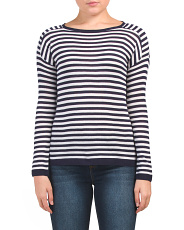 Boat Neck Striped Pullover Sweater