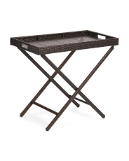 Folding Rectangular Wicker Tray Table