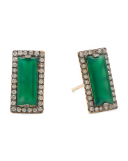 Made In Usa 14k Gold Diamond And Green Onyx Earrings
