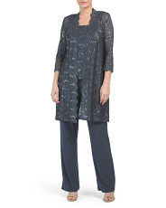 Made In Usa Lace Midi Jacket Pantsuit